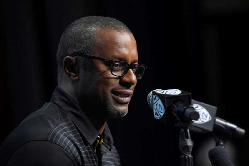 KOIN NEWS FILE PHOTO - Willie Taggart answers questions at last week's Pac-12 media day.