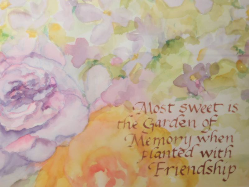 ESTACADA NEWS PHOTO: EMILY LINDSTRAND - Earlean Marsh's painting 'Garden of Friendship' will be on display at the Spiral Gallery through  Sunday, Aug. 27.