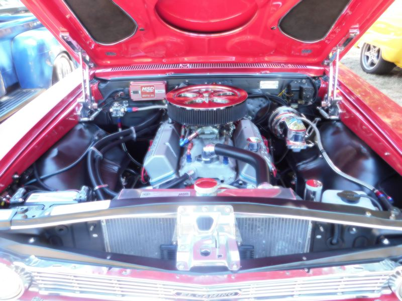 ESTACADA NEWS PHOTO: EMILY LINDSTRAND - The engine of this 1966 Chevy El Camino was on display at the Old Time Cruise In to Estacada.