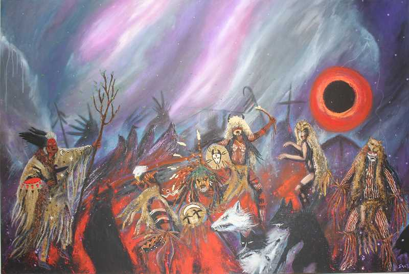 SUSAN MATHENY/MADRAS PIONEER - The painting 'Sign of a True Prophecy' by the late Warm Springs artist Apolonia Susana Santos is part of the 'Celestial Visions' exhibit currently at the museum.