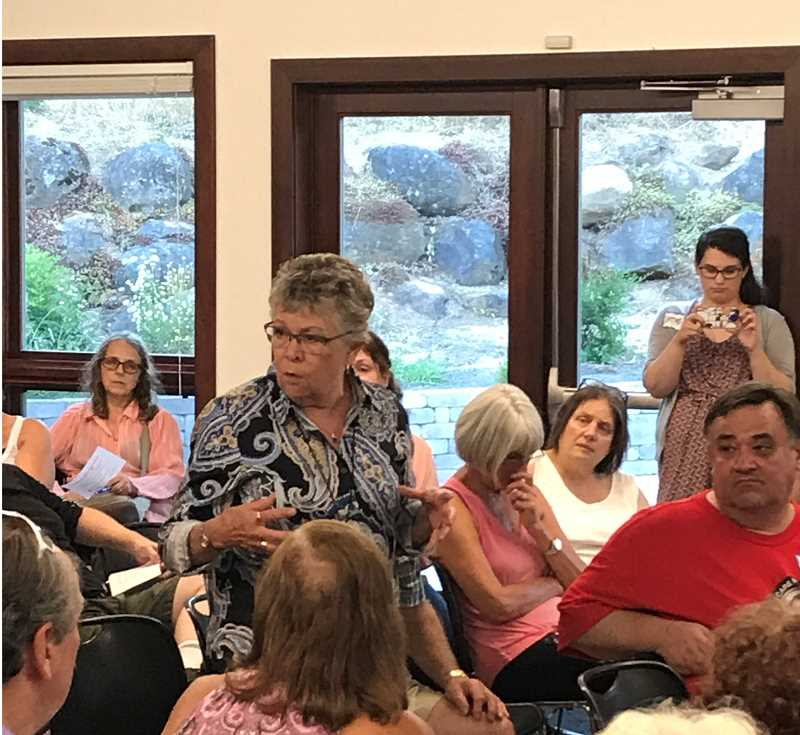 TIDINGS PHOTO: PATRICK MALEE - Dozens of residents from Clackamas, Washington and Multnomah Counties shared stories and concerns at a health care forum in West Linn Aug. 1.