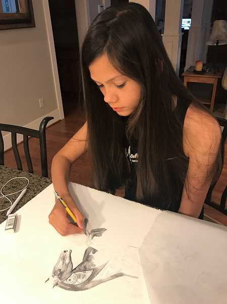 SUBMITTED PHOTO: CARLY SHANKLIN - Carly Shanklin works on a pencil drawing of a horse she is preparing to submit to the art gallery at the Clackamas County 4H exhibit hall next week.