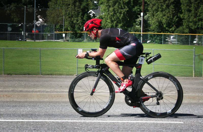 COURTESY OF A-SQUARED BIKES - AJ Alley races with an A-Squared bike at the Ironman 70.3 Coeur d'Alene.
