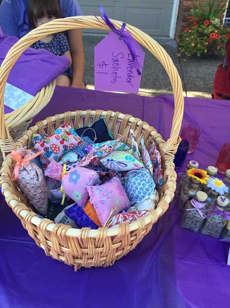 SUBMITTED PHOTO: MICHELLE BOMBET-MINCH - Lavender sachets, soaps, bath salts and more were all made by the Lavender Girls to raise funds for the Childrens Cancer Association.