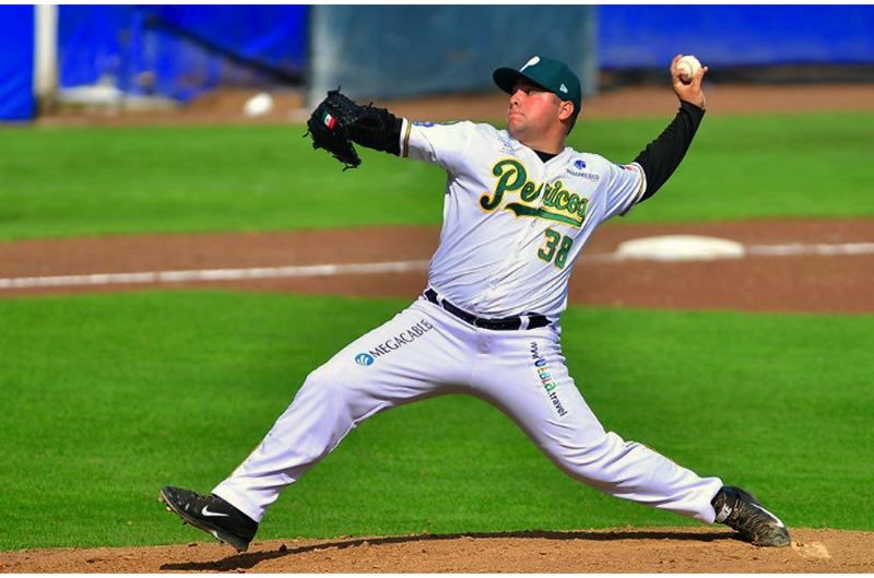 PHOTO COURTESY OF T.J. PRUNEDA - T.J. Pruneda, a 2010 Tigard High School graduate, gets ready to throw a pitch for the Pericos de Puebla, a top team in the Mexican League.