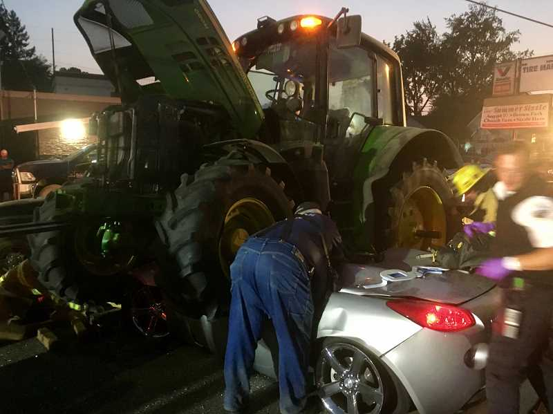 COURTESY PHOTO - Driver Victor Accomando, 73, and passenger Donna Accomando, 62, survived the unusual crash with minor to serious injuries
