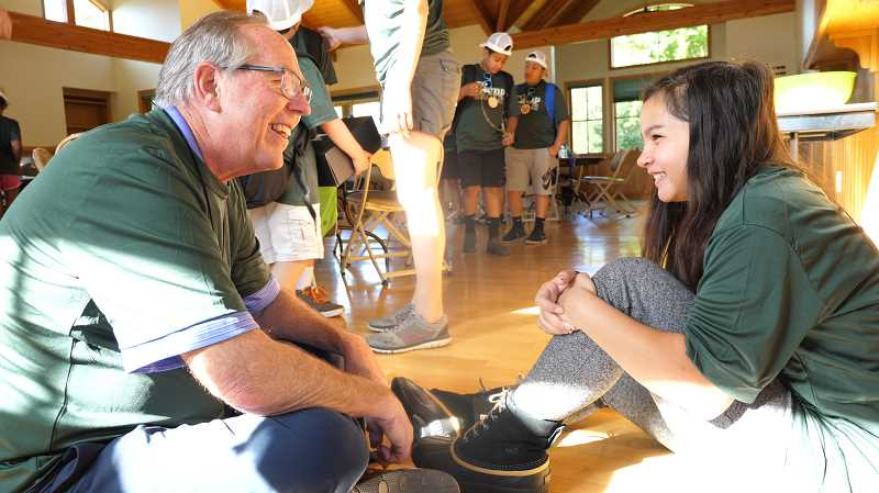 COURTESY PHOTO: CITY OF HILLSBORO - Hillsboros Mayor Steve Callaway greeted campers on their first day of Camp Eagle, taking the time to sit down and talk with them.