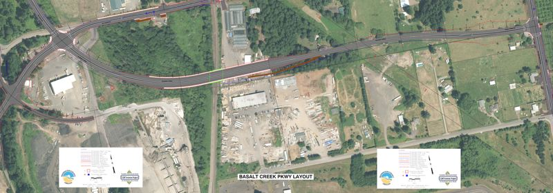 COURTESY OF WASHINGTON COUNTY - An aerial map shows where Basalt Creek Parkway runs from Tonquin Road, left, to Grahams Ferry Road, right. The road will continue north as 124th Avenue to Tualatin-Sherwood Road once the project is complete.