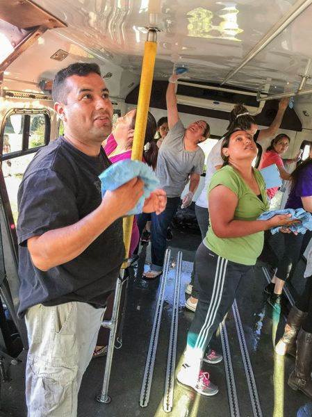 CONTRIBUTED - Local community members are working together to get this mobile art bus ready. An exhibition of the bus is planned for Fairview on the Green, an annual festival slated for Saturday, Aug. 19 this year.