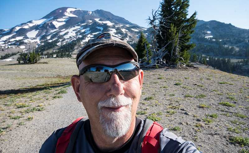 LON AUSTIN/CENTRAL OREGONIAN - The author poses for a selfie on the pumice flats just before the steepest part of the climb up the South Sister.