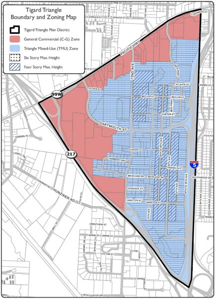 COURTESY OF THE CITY OF TIGARD - A draft zoning map for the Tigard Triangle shows in red what would be zoned as general commercial and in blue what would be under the proposed Triangle mixed-use zone.