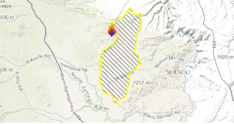 MAP COURTESY OF INCIWEB - The area of the Nena Springs Fire, as mapped by InciWeb on Friday, shows about 34,000 acres that have burned in the northeast area of the Warm Springs Reservation.