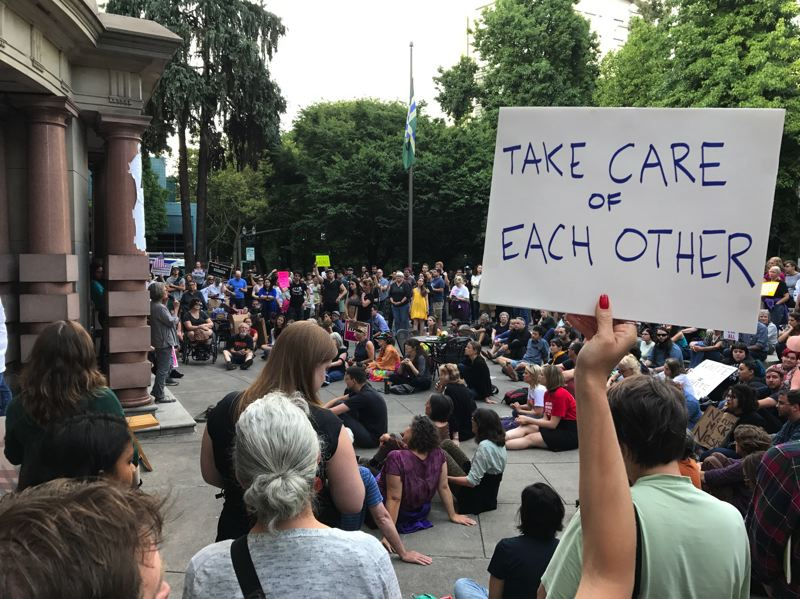 TRIBUNE PHOTO: DANA HAYNES - Speakers on Sunday denounced Nazi and Faschist flags and speeches in Charlottesville, Va., but also the official comment by President Trump.