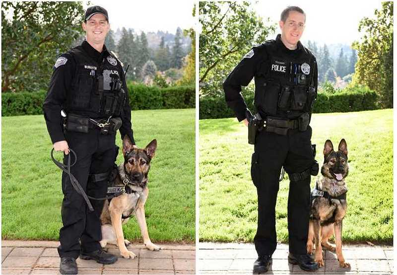 SUBMITTED PHOTO - K9 Chase (left, with LOPD Officer Bryan McMahon) was 18 months old when he joined the department in late 2016. K9 Szemi was just 14 months old when he partnered with Officer Brandon Clausen.