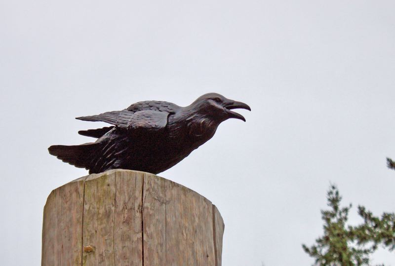 OUTLOOK PHOTO: CHRISTOPHER KEIZUR - Chad Caswell's raven statue was perched atop a wooden pole in the middle of Nadaka Nature Park.