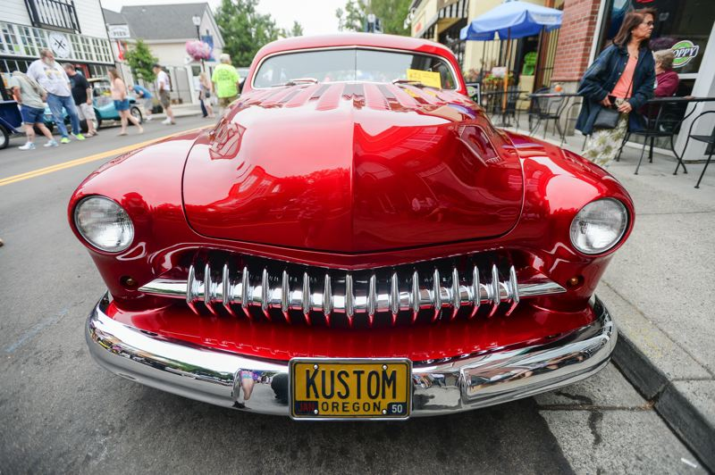 OUTLOOK PHOTO: JOSH KULLA - This gleaming 1950 Mercury CP Custom is owned by Bob Vonderberg and is shown here Saturday during Rockin' Round the Block in downtown Gresham.