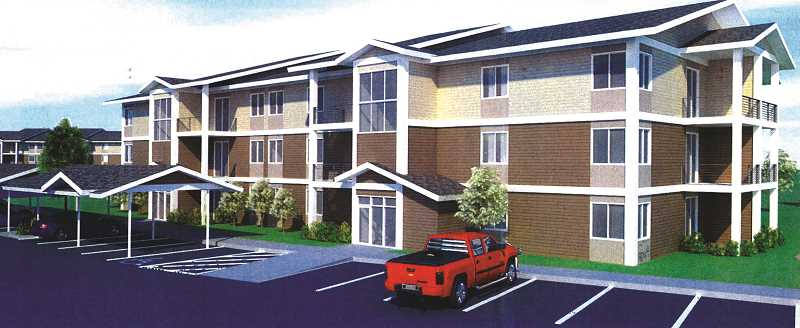 COURTESY RENDERING: CITY OF WOODBURN - The Woodburn Planning Commission voted to recommend approval of the application for a 300-unit apartment complex planned for west Woodburn. Above is a rendering depicting one of the 13 residential buildings planned for the site.