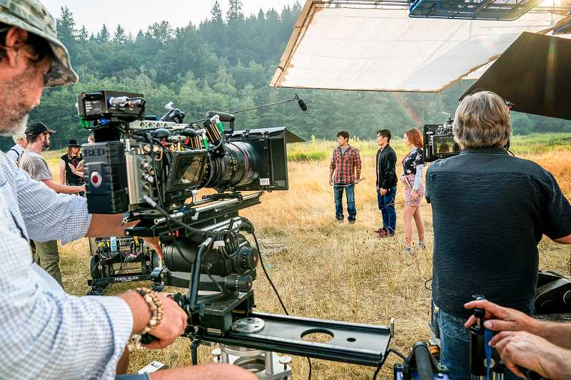 PHOTOGRAPHY © 2017 TURNER ENTERTAINMENT NETWORKS, INC., A TIME WARNER COMPANY. ALL RIGHTS RESERVED. - Cast and crew from The Librarians shoot a scene from their episode at Milo McIver State Park last week. The episode is tentatively scheduled to air in early 2018.