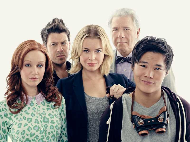 PHOTOGRAPHY © 2017 TURNER ENTERTAINMENT NETWORKS, INC., A TIME WARNER COMPANY. ALL RIGHTS RESERVED. - The Librarians stars Lindy Booth, Christian Kane, Rebecca Romijn, John Larroquette and John Harlan Kim.