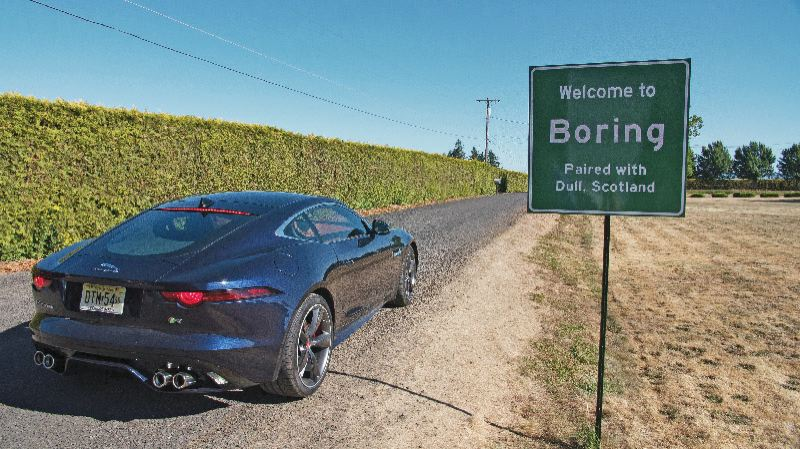 COURTESY FIRWOOD STUDIOS - The latest Jaguar commercial features scenes from Boring, Oregon, and Dull, Scotland.