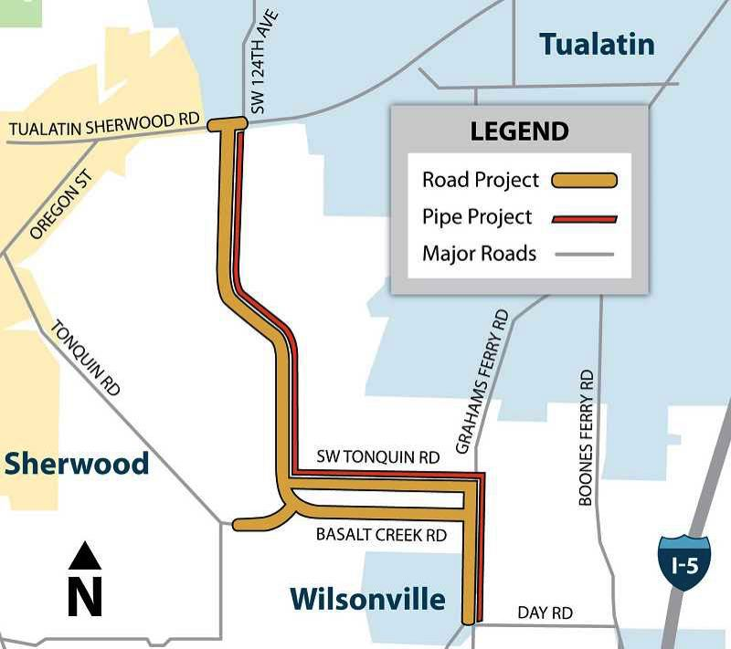 COURTESY OF THE WILLAMETTE WATER SUPPLY PROGRAM - This map shows both the proposed pipeline as well as the roadways it will follow in the Sherwood area. Willamette Water Supply Program plans call for the construction of a $250 million water treatment plant along 124th Avenue near Tualatin-Sherwood Road.
