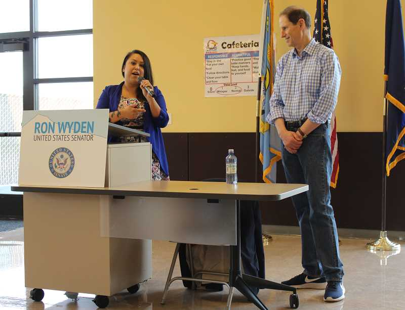 HOLLY M. GILL - Warm Springs Tribal Councilor Carina Miller introduces U.S. Sen. Ron Wyden, who visited the Warm Springs K-8 Academy Aug. 10, for the first time. Dozens of residents attended the town hall, the second held in Jefferson County this year.