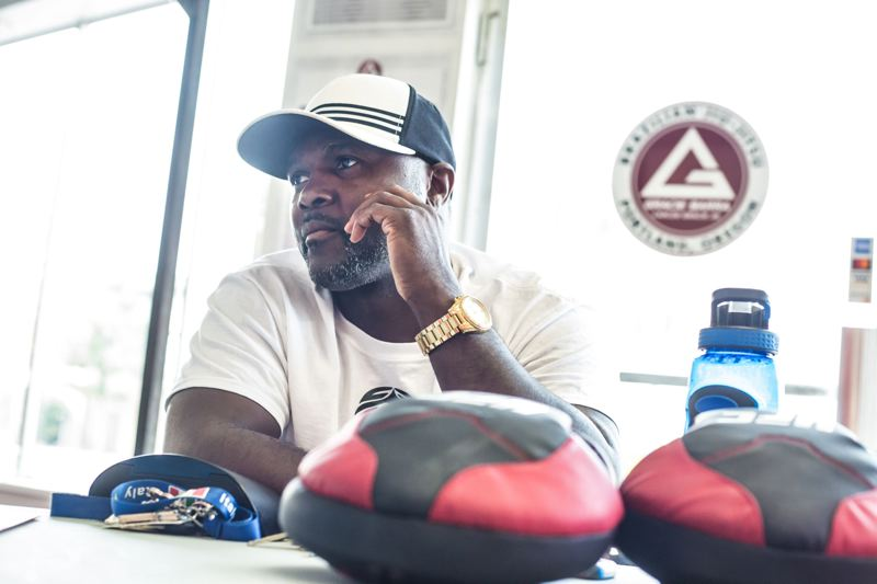 TRIBUNE PHOTO: JONATHAN HOUSE - After a stellar career as a professional boxer that included a world championship belt, Grant High graduate Steve Forbes is back in town, pondering how to bring more fights to Portland.