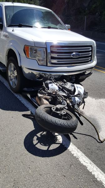 COURTESY PHOTO: OREGON STATE POLICE - A motorcycle driven by Janene Tailleur, 49, from Canada, collided with a Ford truck driven by Portland resident Eric Kading, 33, of Portland, Wednesday afternoon. Taillieur died at OHSU that evening.