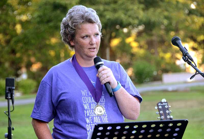 SPOKESMAN PHOTOS: VERN UYETAKE - Keynote speaker Gina McCluhan shares her story about her recent bout with breast cancer.
