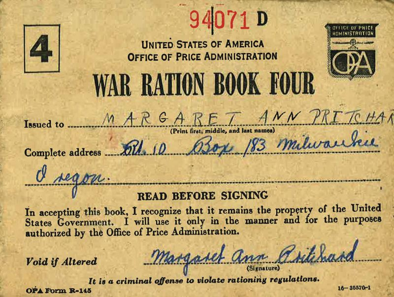 SUBMITTED PHOTO - Margaret Prichard's ration book issued by the U.S. government during World War II shows she didn't drink coffee.