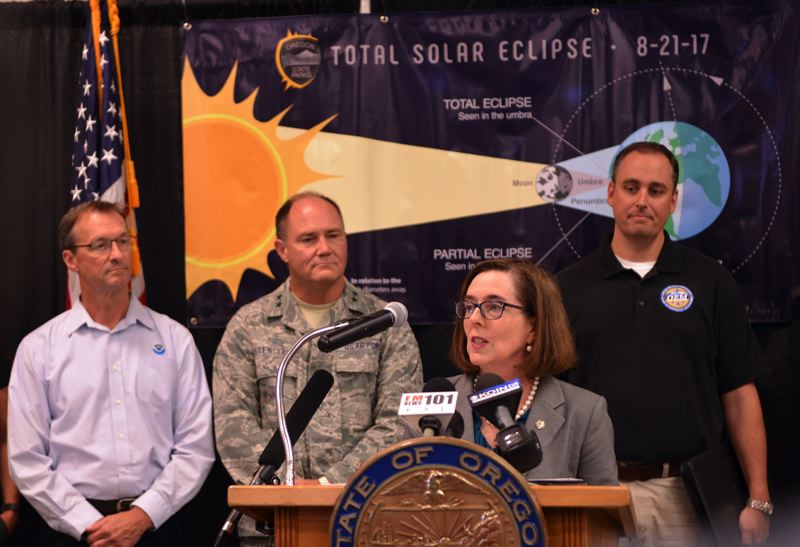 COURTESY PHOTO: OEM - Gov. Kate Brown joined emergency management officials to announce preparations for Monday's eclipse. About 1 million people are expected in the state for the Aug. 21 event.