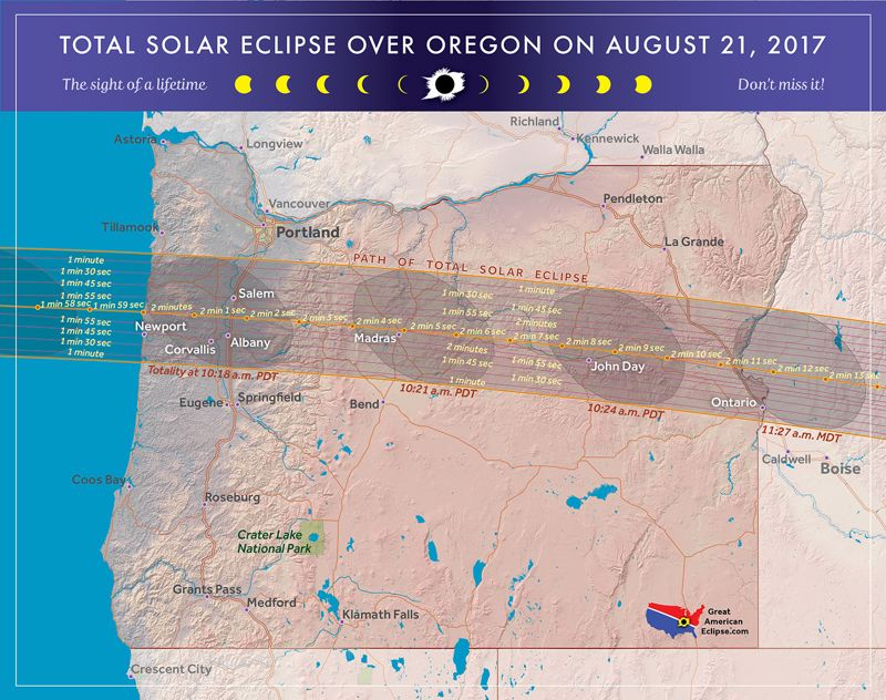 COURTESY MAP: MICHAEL ZEILER/GREATAMERICANECLIPSE.COM - Map of the path of totality in Oregon.