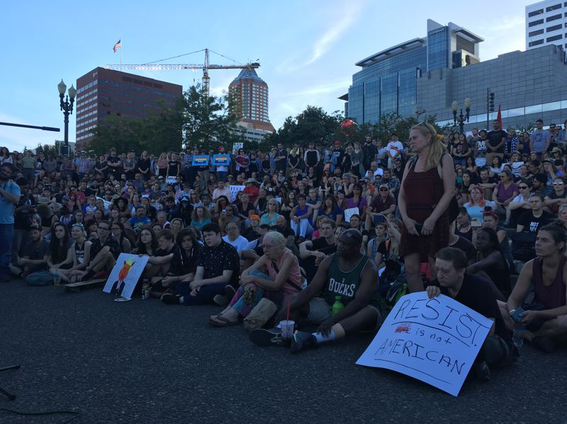 PAMPLIN MEDIA GROUP: JOSH KULLA - The Eclipse the Hate rally filled up the waterfront area near Salmon Springs.