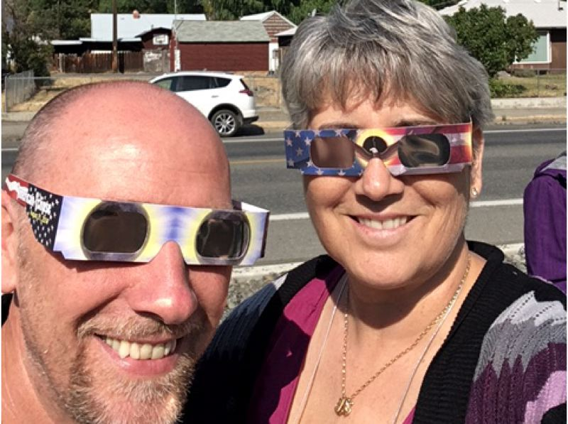 CONTRIBUTED PHOTO - Police Chief Ernie Roberts and City Manager Kim Yamashita had the opportunity to view the solar eclipse in totality in John Day, where they were working with the Grant County Emergency Operation.