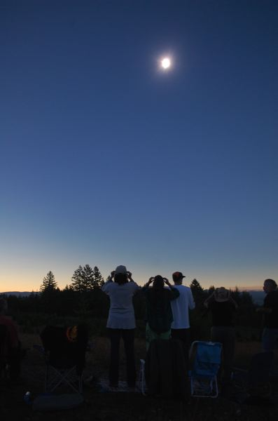 PHOTO BY RAYMOND RENDLEMAN - A total eclipse of the sun was seen above Clarkes, Oregon, just south of Beavercreek and Oregon City.