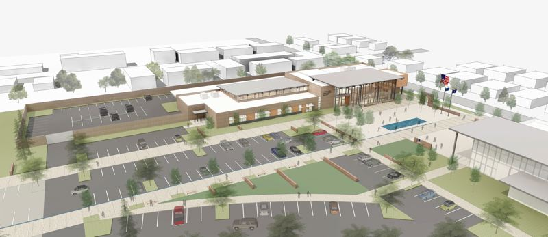 RENDERING COURTESY: SCOTT MOORE, GROUP MACKENZIE ARCHITECT - Oregon City's new police station is designed with a public plaza at its front entrance honoring both fallen Officer Robert Libke and the former Mt. Pleasant Elementary School building.