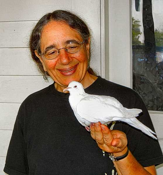 ELIZABETH USSHER GROFF - Sandy Profeta, with her thirty-three-year-old dove. Profeta says there are a number of important steps for enabling a dove to live over three decades - quite an unusual span.