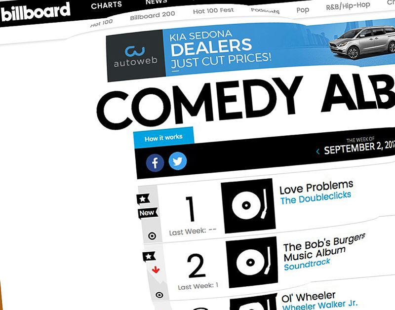 'Love Problems' is No. 1 on Billboard's Comedy Album chart.