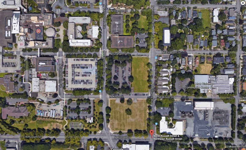 SOURCE: PROSPER PORTLAND - The vacant lot between North Knott and Russell Streets is about to be developed. Source: Google Satellite.