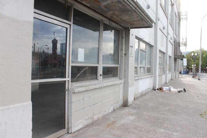 TRIBUNE PHOTO: LYNDSEY HEWITT - The building at 320 N.W. Hoyt St. that the city and county are looking to as a potential new space for 200 homeless people.