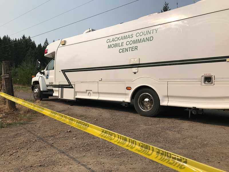 CLACKAMAS COUNTY SHERIFFS OFFICE  - Clackamas County Mobile Command Center at the scene of the reported crime in Beavercreek on the night of Monday, Aug. 21.