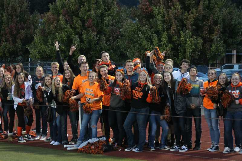 PIONEER PHOTO: CONNER WILLIAMS - Molalla High School students turned out in full force for the Indians' football game at North Marion last season.