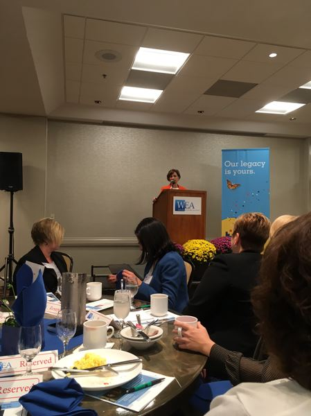 PAMPLIN MEDIA GROUP: PETER WONG - U.S. Rep. Suzanne Bonamici, D-Ore., speaks at a Westside Economic Alliance breakfast Thursday (Aug. 24) at Embassy Suites in Tigard