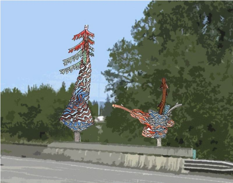 IMAGE COURTESY OF RHIZA A+D AND THE CITY OF ST. HELENS - A conceptual drawing from architecture and design company, rhiza A+D, of the Salmon Tree Cycle art installation. The sculpture will be installed later this month and will be dedicated in September.