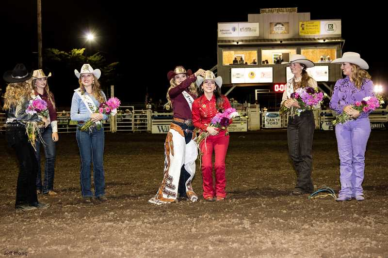 (Image is Clickable Link) PHOTO BY JEFF WONG - At the Canby Rodeo on Saturday, Aug. 19, Miss Rodeo Oregon 2017 Kayla Vincent crowns Jessi Cornforth as Miss Rodeo Oregon 2018.