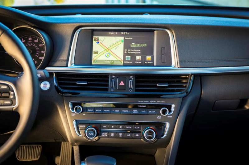 KIA MOTORS AMERICA - A large infotainment screen and easy to use controls highlight the interior of the 2017 Kia Optima Hybrid.