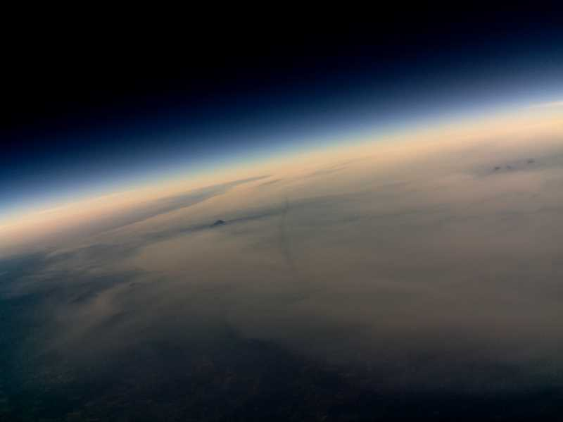 SUBMITTED PHOTO - The view from Oregon Techs eclipse balloon just ahead of totality, approximately 55,000 feet in the air.
