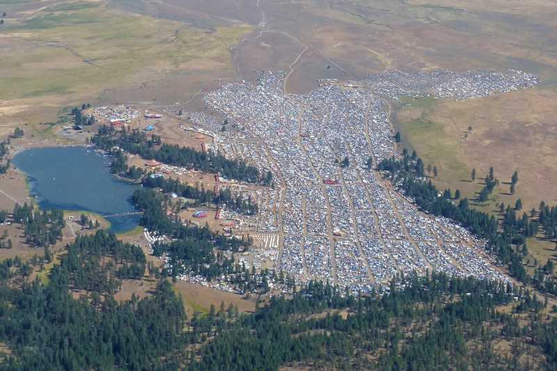 PHOTO COURTESY OF PRINEVILLE POLICE DEPARTMENT - An aerial view of the Oregon Eclipse 2017 site shows the massive scale of the music festival, which was held on Big Summit Prairie in Central Oregon.