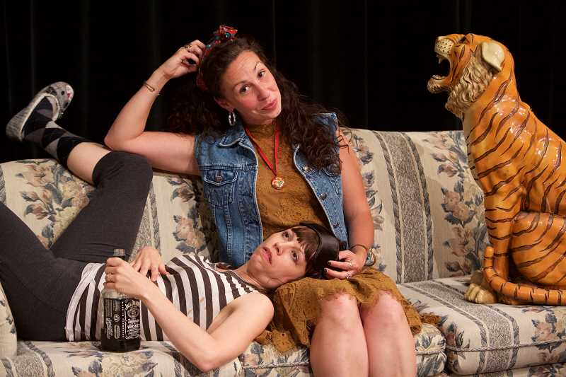 CONTRIBUTED PHOTO: CRAIG MITCHELLDYER - Annie Rimmer and Heather Ovalle are Sherry Wickman and Wickmans sister in Clackamas Community Colleges production of Tigers Be Still.