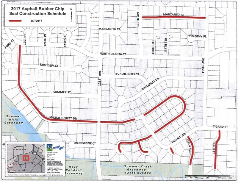 COURTESY OF THE CITY OF TIGARD - Marked in red are the streets treated with an asphalt rubber chip seal, a lower-cost method of addressing badly deteriorated streets that the City of Tigard is trying out, by Intermountain Slurry Seal Inc. on Aug. 7.